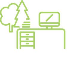 eigener Schreibtisch im Grünen